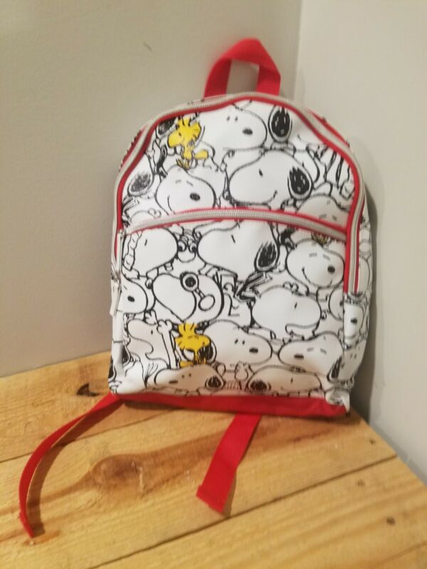Snoopy Print Backpack Small Red White Peanuts Brand