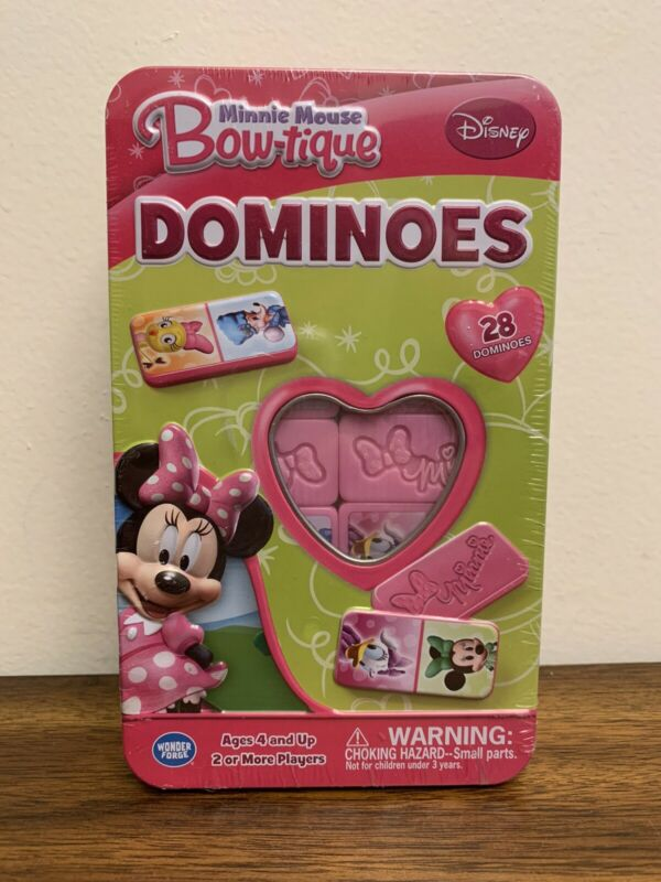 Disney Minnie Mouse Bow-tique Dominoes - 28 Dominoes - Metal Tin Container