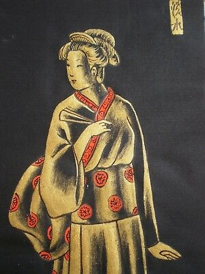 Engraving On Silk Man Woman Costume Japan Art Decorative Xx ° S Japan Silk Print