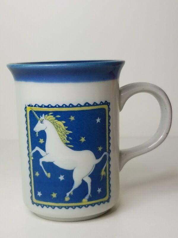 Vintage UNICORN Coffee Tea Mug Cup Blue Mythical Stars