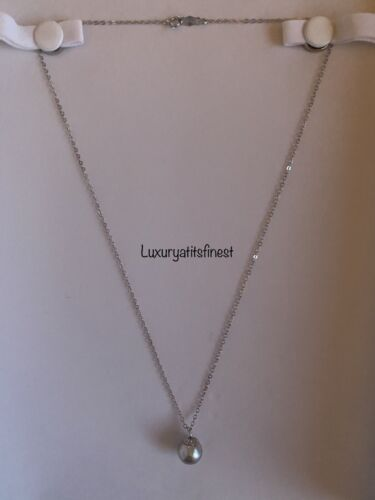 14K SOLID GOLD VINTAGE GENUINE TAHITIAN GRAY PEARL CHAIN NECKLACE GREAT LUSTER - $159.00