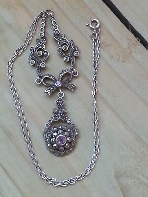 Silver Art Deco Style Marcasite Cluster & Amethyst Drop Necklace