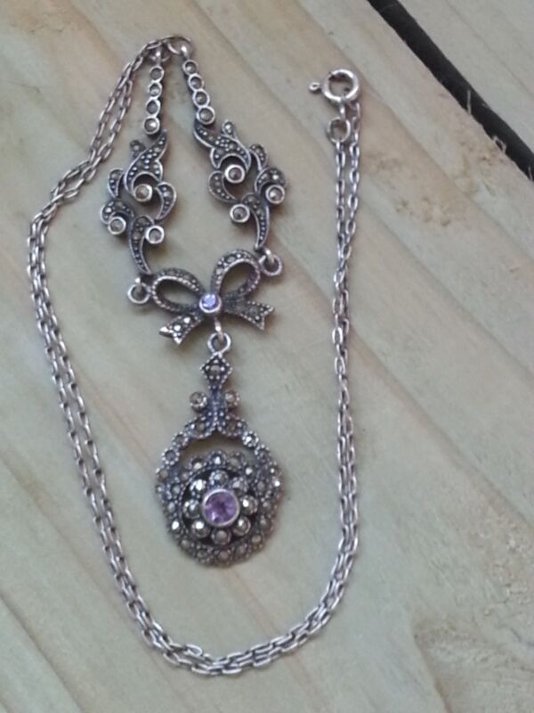 """Silver """"Art Deco Style"""" Marcasite Cluster & Amethyst Drop Necklace"""
