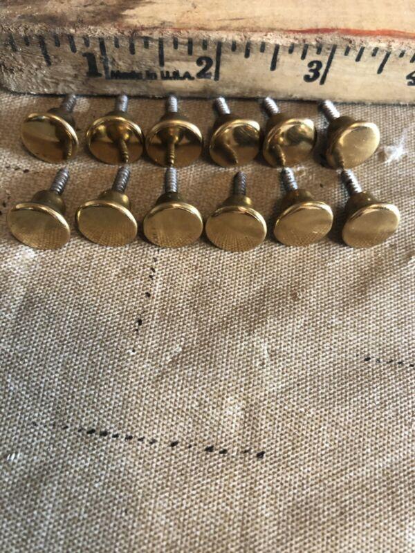 "12 Vintage 3/8"" Brass Plated Mid-Century Screws In Drawer Knob Handle Pulls"