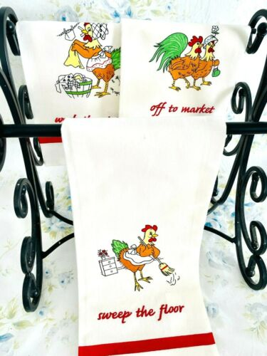 Vintage NOS Lillian Vernon 3 Embroidered Kitchen Dish Towels Chickens Chores NEW