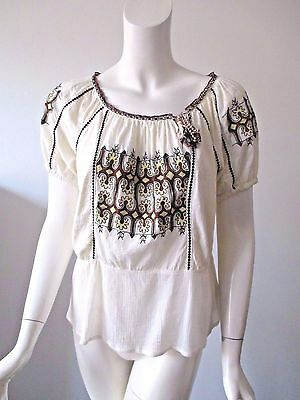 Anthropologie C Keer Ivory Embroidered Hobo Scoop Neck Cotton Top Blouse S