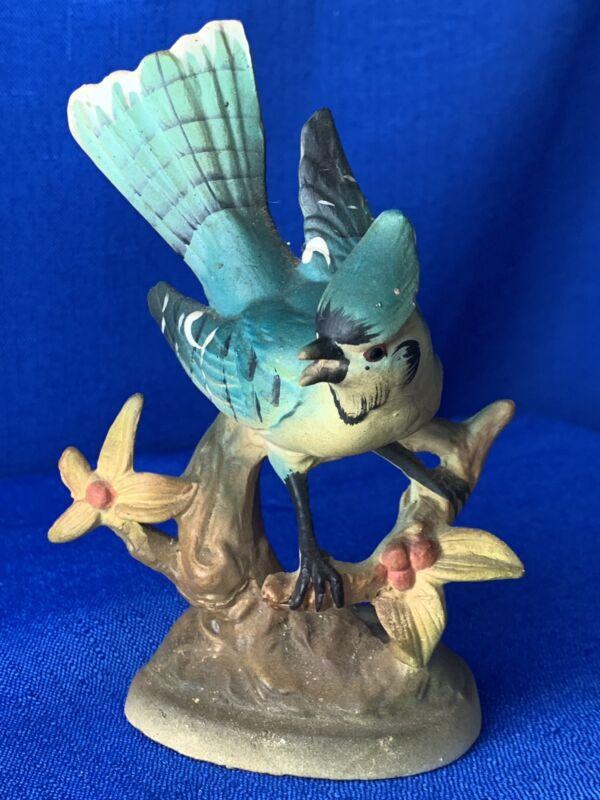 Vintage Porcelain Blue jay Blue Bird Collectible Gift Yoko Boeki Co (Japan)