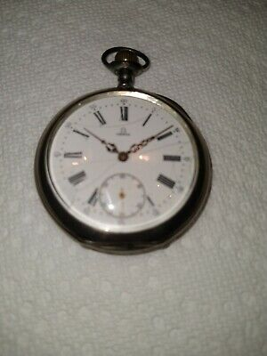 Antique Omega Grand Prix Paris 1900 Open Face Pocket Watch - Case 900 Silver