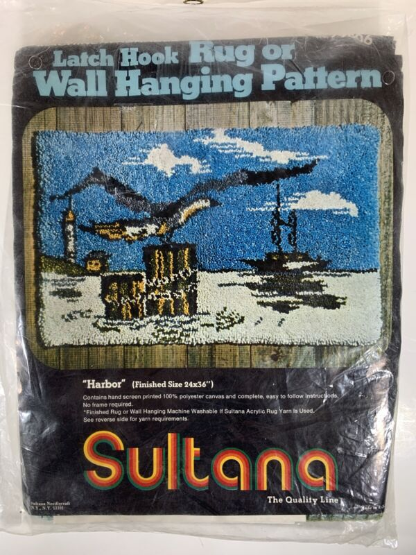 Sultana Latch Hook Rug Wall Hanging Pattern Harbor NOS