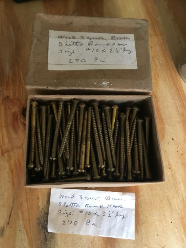 "Box Of 2 1/2"" Long Vintage Brass Screws Round Head"
