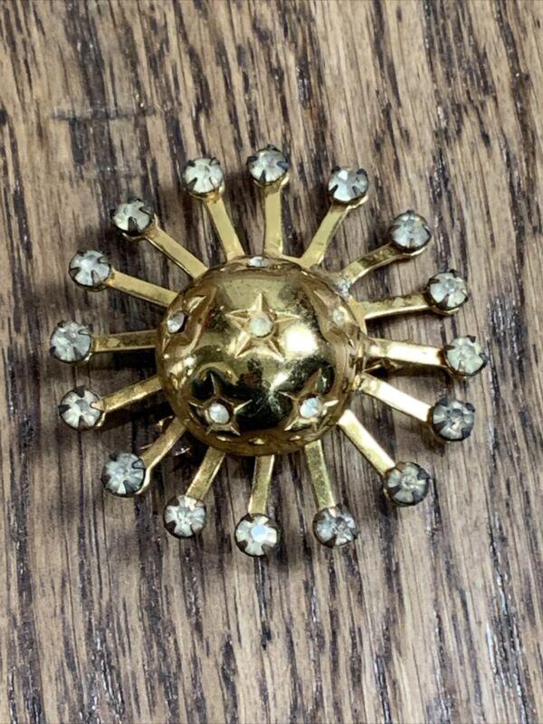 Vintage Atomic Age Gold Tone Starburst Sputnik Brooch Pin