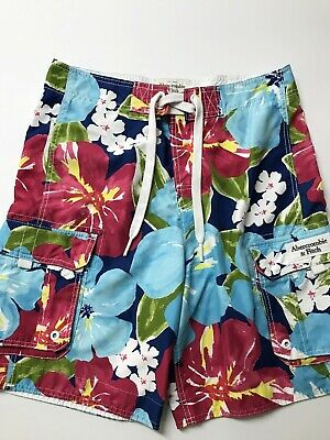 ABERCROMBIE & FITCH Mens Size Medium Hawaiian Floral Print Cargo Shorts EXC