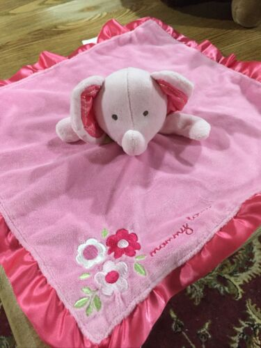 CARTERS Baby Pink Elephant SECURITY BLANKET Lovey MOMMY LOVES ME Flowers - $12.30