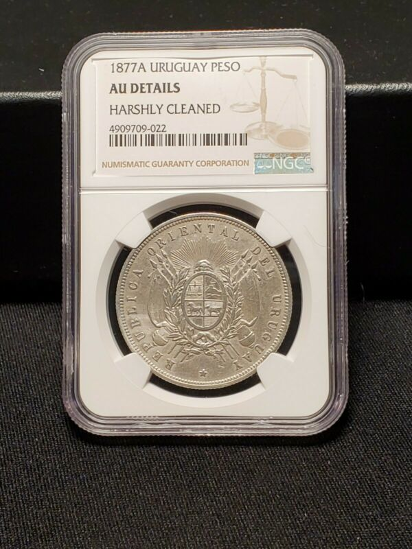 1877 A Uruguay Silver Peso - NGC AU Details