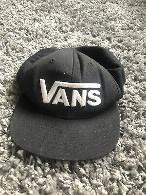 vans hat cap, medium, black and white, adjustable, flat peak