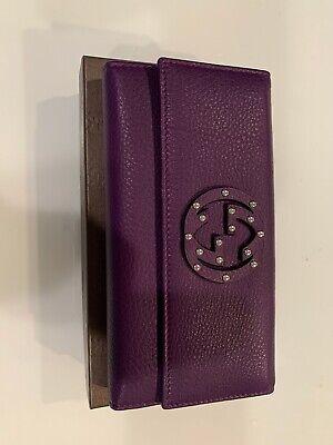 Gucci Women Purple Leather Wallet (NEW)