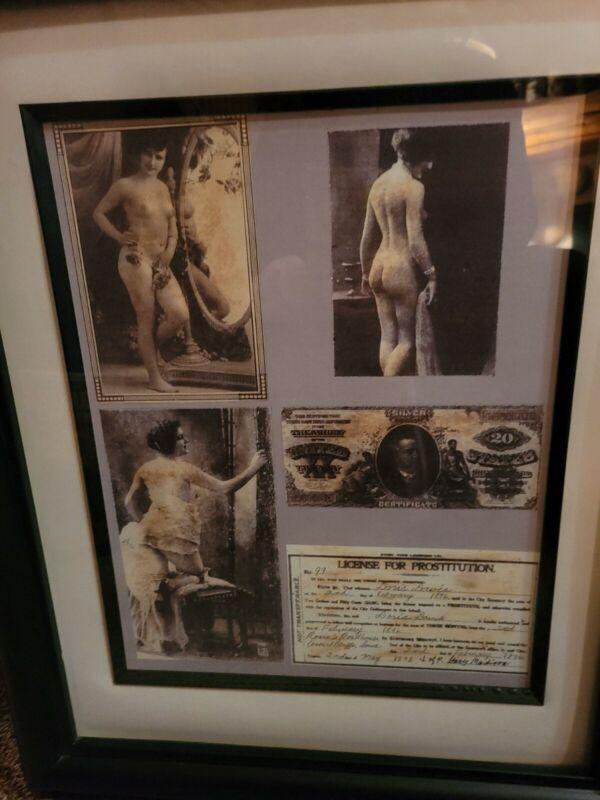 Prostitution License, framed copy 17x21 Doris Davis 1896 by Jop Madison