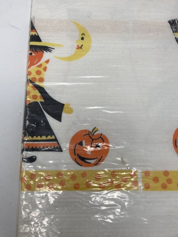 Vintage HALLOWEEN Crepe Paper Tablecloth Never Used Sealed Witch Pumpkins