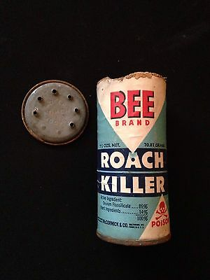 Vintage Bee Brand Roach Killer Tin Mccormick   Co  Skull And Bones Poison
