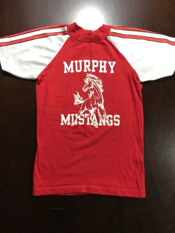 Vintage 70s Velva Sheen Murphy Mustangs Horse Shirt Striped Sleeve Youth Sz M