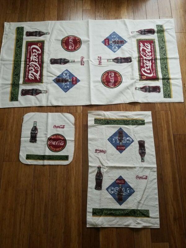 Vintage COCA COLA Bath Towel, Hand Towel and Washcloth, Never Used, NEW!  F04