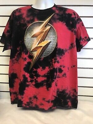 Justice League Movie Flash Mens XL Shirt Red Tie Dye Tee
