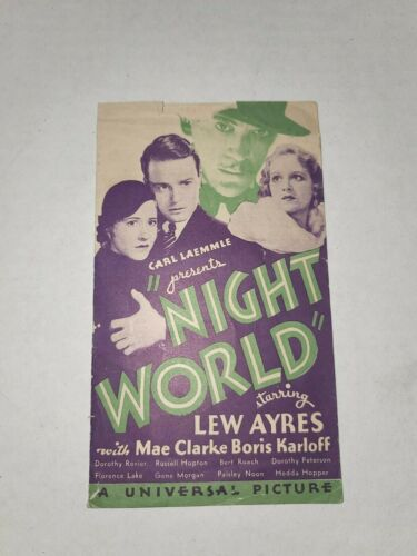 BORIS KARLOFF NIGHT WORLD RARE HERALD 1932 LEW AYRES BUSBY BERKELEY CARL LAEMMLE