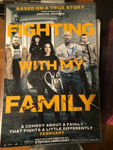 FIGHTING WITH MY FAMILY CAST SIGNED PHOTO 12X18 WWE PAIGE LENA HEADEY AUTOGRAPH