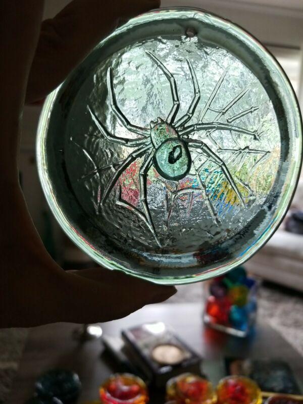 Blenko Suncatcher-  Black widow spider in charcoal NEW COLOR