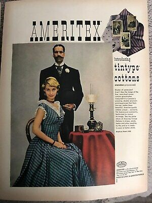 Ameritex Fabrics~Tintype Cottons, Blonde In Blue Plaid~1949 Vintage Print AD B16