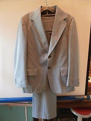 Men's Vintage Polyester Suit, Blue checks JC Pennys Hipster 70s size 42? 38W 29L
