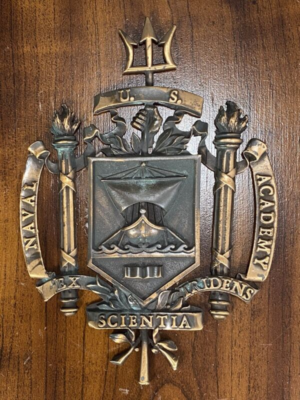 Very Fine Metal Plaque of the US Naval Academy On a Wood Plaque ca. 20th century