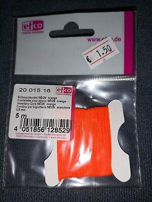 Schmuckkordel Neon orange, Von Efco, 0,8mm, 5m, Schmuckherstellung, Modeschmuck ()
