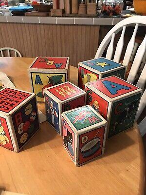 Vintage Cardboard Square Alphabet Stackable Blocks