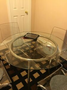 Glass Table w/ stainless steel frame