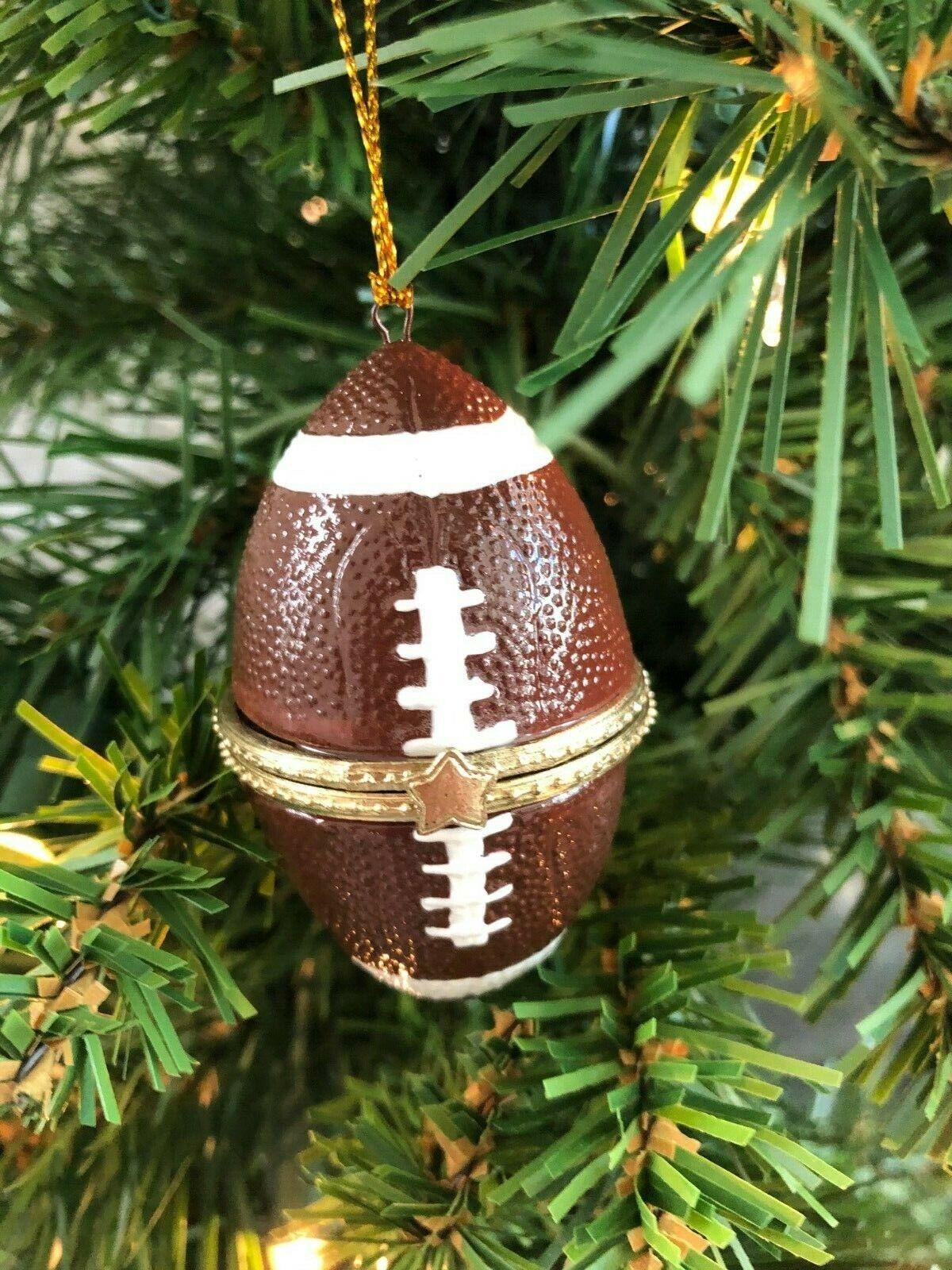 Christmas Ornament Football Hinged Trinket Box Ornament Porcelain Gift Handpaint Holiday & Seasonal Décor