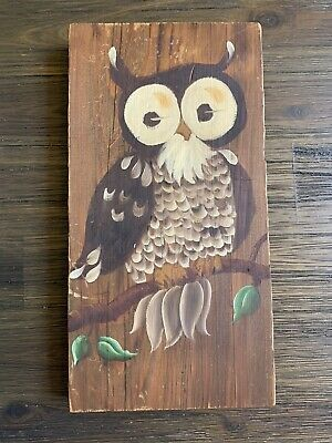 Vintage Owl Painting Hand Painted On Wood Retro Art Decor 1970's Kitsch
