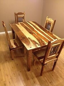Solid Wood Dining Room Table with 5 Chairs