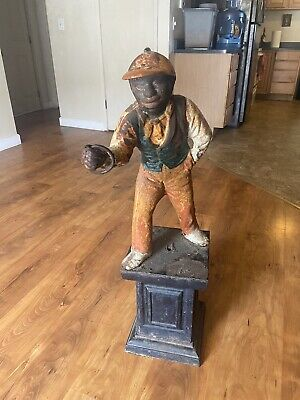 """Antique Painted Cast Iron 24"""" Black Lawn Jockey with Original Stand"""
