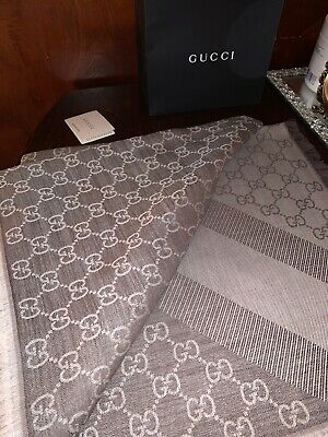 GUCCI scarf shawl GG Guccissima wool silk Light Grey