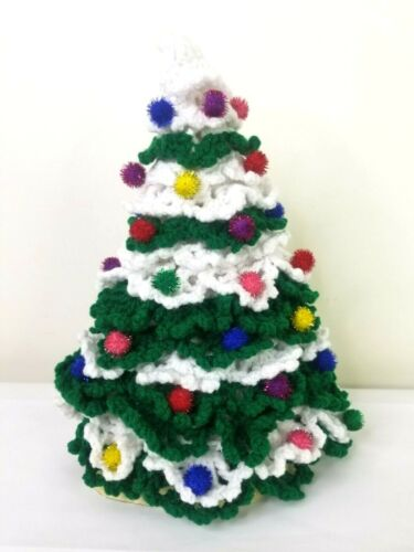 Vintage Crochet Christmas Tree Handmade Pom Pom Ornaments Green White 14""