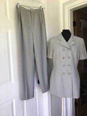 Pre-Owned Women's Le Suit Gray/White Pant Suit Size:10