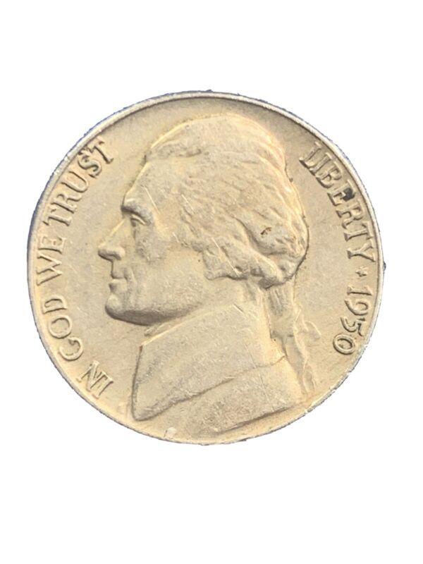 1950 P Philadelphia Mint Jefferson Nickel, Key Date, Nice Circulated Condition