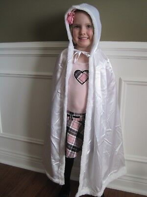 NEW Hooded WHITE PRINCESS CAPE Easter gift Halloween Costume child play cloak