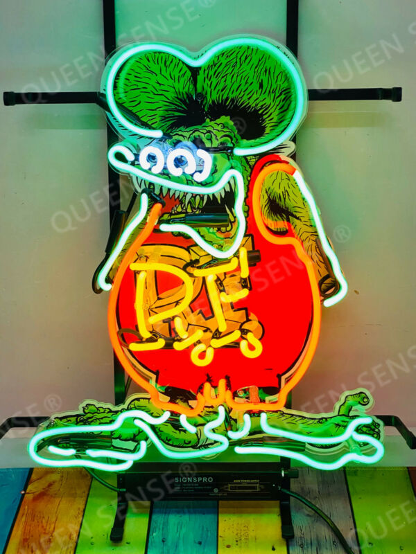 "Rat Fink Rat Rod RF Light Lamp Neon Sign 20"" With HD Vivid Printing"