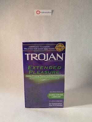 TROJAN Extended Pleasure Climax Control Lubricated Latex Condoms 12 Each Control Lubricated Latex Condoms