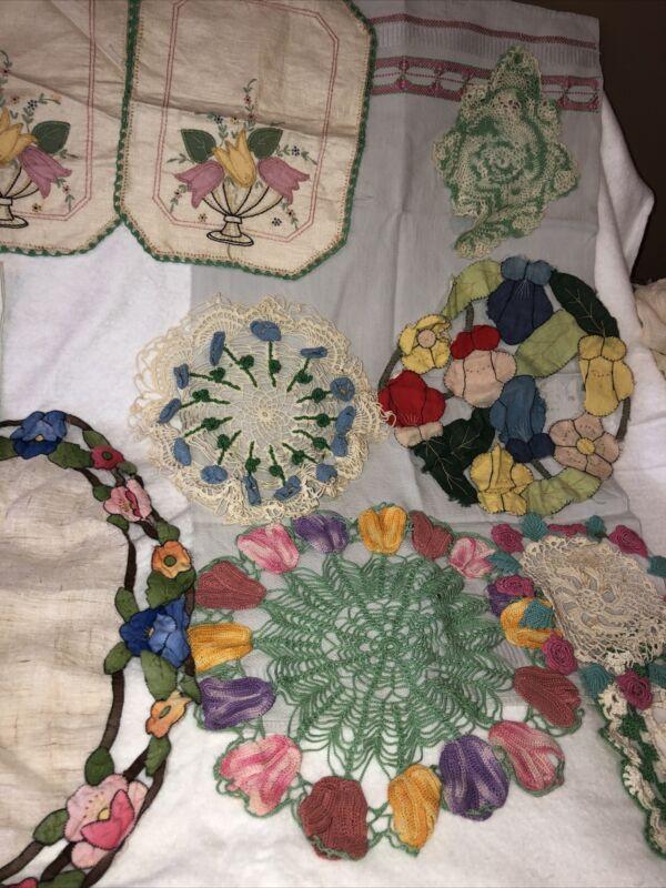Antique Victorian Crochet Appliqué Lace Pink Flower Pattern Linen Estate Sale