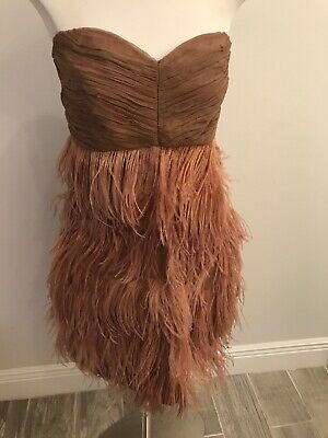 Zara Womens Nude/brown Feathery Strapless Dress, Size M](Feathery Dresses)