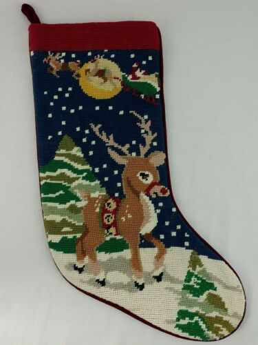 Rudolph Needlepoint XMAS Stocking Finished Reindeer Sleigh Blue Red Multi Color