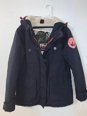 SUPERDRY MOUNTAINEERING BLUE LARGE PARKA EVEREST JACKET WOMEN